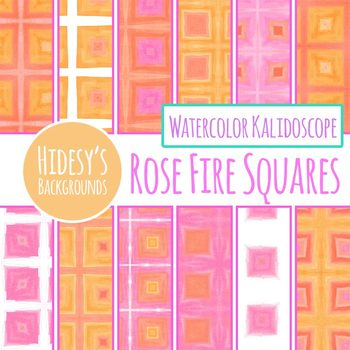 Pink, Peach and Orange Background Squares Digital Paper / Backgrounds