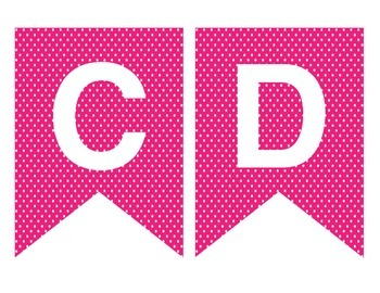 Pink Pennants Bunting Banner A-Z Alphabet Letters