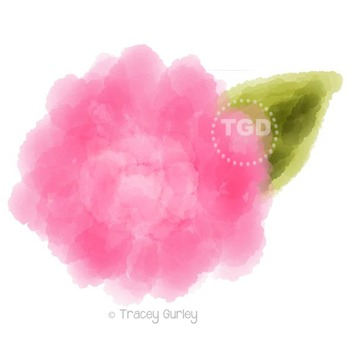 Pink Peony Watercolor, peony flower clip art Printable Tracey Gurley Designs