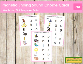 Pink: Phonetic Ending Sound Choice Cards