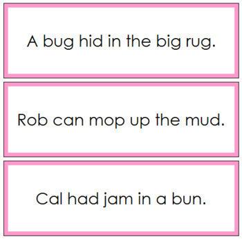Pink: Phonetic Sentence Cards (Set 3)