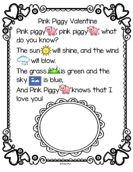 Pink Piggy Valentine's Day Rebus Rhyme Activity in Color and B-W