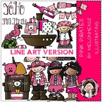 Pink Pirates clip art - LINE ART- by Melonheadz