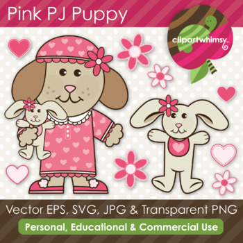 Pink Pj Puppy & Bunny Graphics
