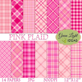 Pink Plaid Digital Papers / Plaid Backgrounds / Pink Plaid