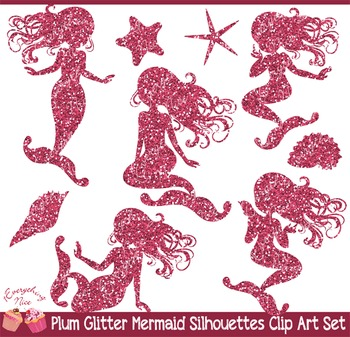 Pink Plum Glitter Mermaid Silhouettes Clipart Set