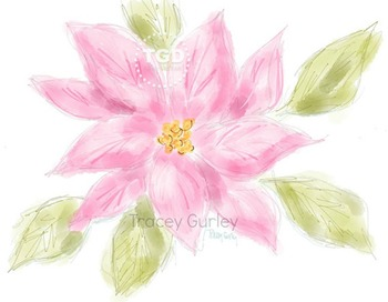 Pink Poinsettia clip art, Printable Tracey Gurley Designs
