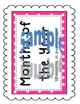 Pink Polka Dot Complete Calendar Set