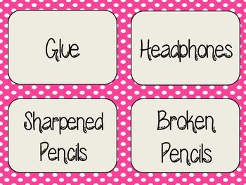 Pink Polka Dot Classroom Supply Labels