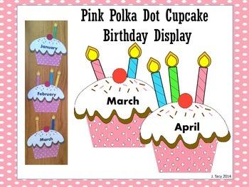 Pink Polka Dot Cupcake Birthday Display