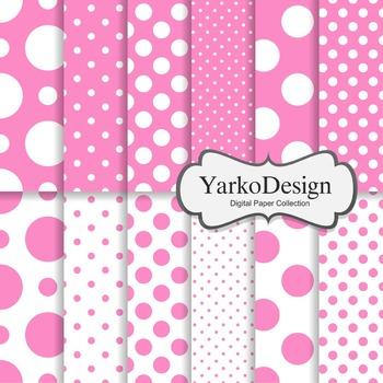 Pink Polka Dot Digital Scrapbooking Paper Set, 12 Digital Paper Sheets