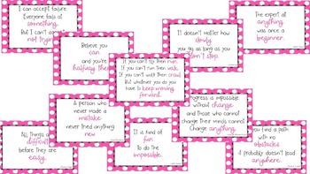 Pink Polka Dot Growth Mindset Posters