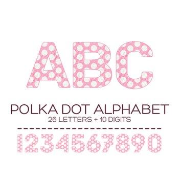 Pink Polka Dot Digital Alphabet - F00007