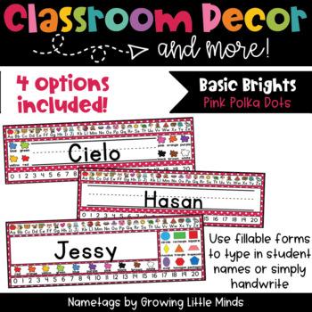 Pink Polka Dot Nametags Classroom Decor