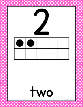 Pink Polka Dot Number Cards and Posters 0-20