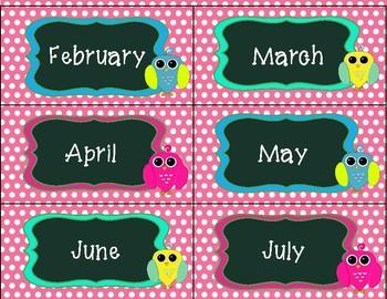 Pink Polka Dot Owl Calendar Pack