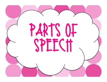 Pink Polka Dot Parts of Speech Posters