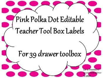 Pink Polka Dot Teacher Toolbox Labels (39 drawers)