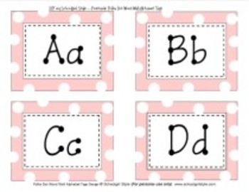 Word Wall Pink Polka Dot Alphabet Classroom Decor