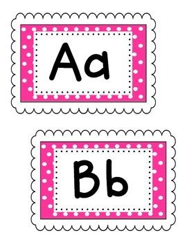 Pink Polka Dot Word Wall Labels