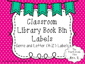 Pink Polka Dot and Bunting Book Bin Labels - Genres and Letters