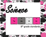 Pink Polka Dot themed 8th grade lesson tracker (based on Ohio)