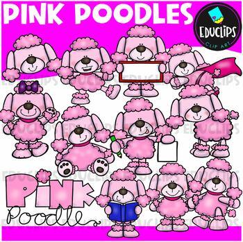 Pink Poodle Clip Art Bundle {Educlips Clipart}