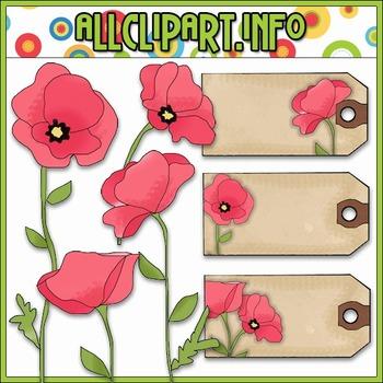 Pink Poppies Clip Art & Hang Tags - Cheryl Seslar Clip Art