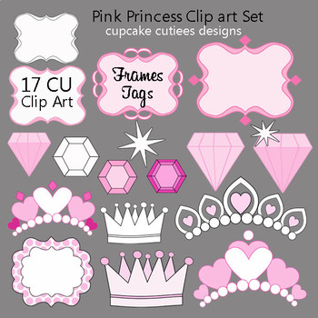 Pink Princess Digital Clip Art Elements