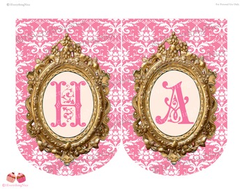 Pink Princess Happy Birthday Banner