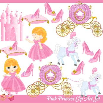 Pink Princess Pink Royal Carriage Pink Castle Clipart Set