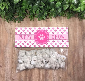 Pink Puppy Chow Treat Bag Toppers, Classroom Party Ideas