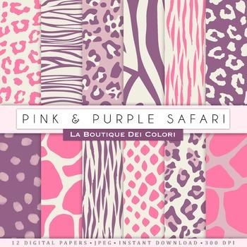 Pink & Purple Animal Prints Digital Paper, scrapbook backgrounds.