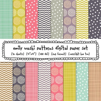 Pink, Purple, Aqua and Mustard Yellow Digital Paper Set, f