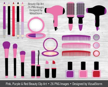 Pink and Purple Beauty Clip Art, Hand Drawn Girls Makeup Illustrations