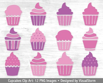 Pink and Purple Cupcakes Clip Art, 12 Hand Drawn Cupcake Illustrations