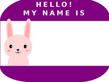Pink Rabbit Name Tag