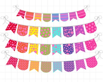 Pink Rainbow Banner - Digital Clip Art Graphics(137)