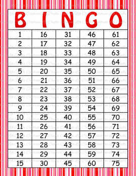 Pink Red Stripes Valentine's Day Bingo - 100 Printable Bingo Cards V007N