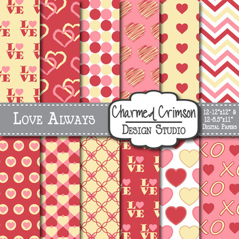Pink, Red, and Yellow Heart Digital Paper 1074
