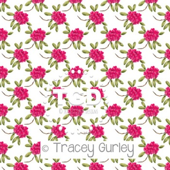 Pink Rhododendron Pattern Repeat on White digital paper Printable Tracey Gurley