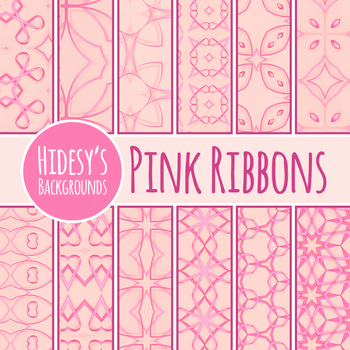 Pink Ribbon Backgrounds / Digital Papers Clip Art Set for Commercial Use