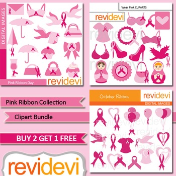 Pink Ribbon Breast Cancer Awareness clip art (3 packs)