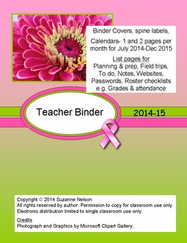 Pink Ribbon Teacher Binder