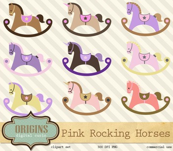 Pink Rocking Horses and Unicorns Vector Clipart