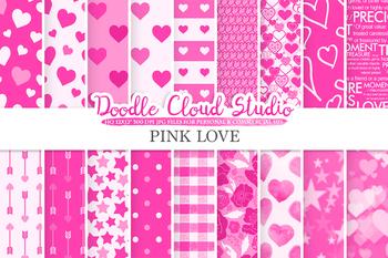 Pink Romantic digital paper, Valentine's day patterns,  Love, Roses.