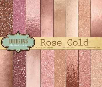 Pink Rose Gold Glitter Digital Paper Backgrounds Scrapbook Textures