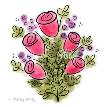 Pink Rose Watercolor Bouquet, pink rose clip art Printable