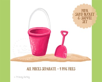Pink Sand Bucket and Shovel Clip Art Set, Printable Tracey Gurley Designs