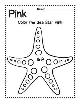 Pink Sea Star Coloring Page